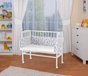 WALDIN Beistellbett mit Matratze, höhenverstellbar, Große Liegefläche, Ausstattung Muster-weiß, Gestell Weiß lackiert