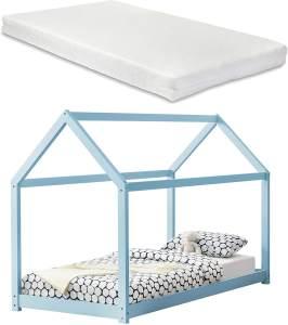 en.casa Hausbett blau, 90x200 cm, inkl. Matratze und Lattenrost