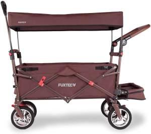 FUXTEC 'FX-CT800' Bollerwagen in Braun, inkl. Sonnendach, zusätzlicher Schiebegriff und Innenraumverlängerung