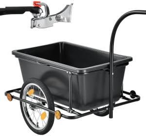 Juskys Fahrradanhänger für Fahrrad 80 kg Zuladung Schwarz, 90 l, Luftbereifung