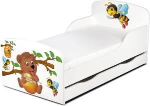 Leomark Kinderbett 70x140 cm, Bienen und Teddybär, mit Matratze, Schublade und Lattenrost