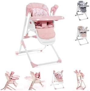 Lorelli Kinderhochstuhl, Babywippe Ventura 2 in 1 ab Geburt, Musik, verstellbar rosa