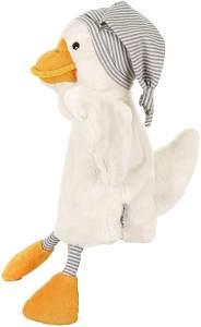 Sterntaler Handpuppe Ente Edda, Ideal für Puppentheater und Rollenspiele, 33 cm, Gelb/Weiß