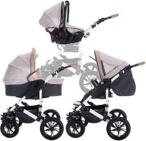 Bebebi myVARIO | 3 in 1 Kombi Kinderwagen Komplettset | Luftreifen | Farbe: myHoney