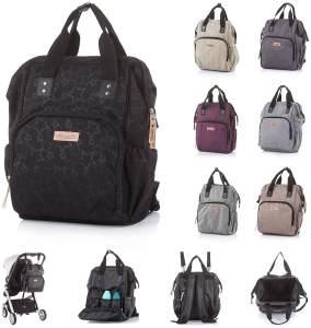 Chipolino Kinderwagentasche, Rucksack mit Wickelunterlage, verstellbare Träger black