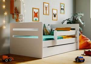 Kinderbett Jugendbett Weiß mit Rausfallschutz Schubalde und Lattenrost Kinderbetten für Mädchen und Junge - Tomi 80 x 180 cm