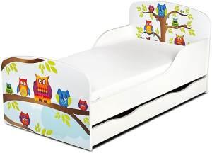 Leomark Kinderbett 70x140 cm, Eulen, mit Matratze, Schublade und Lattenrost