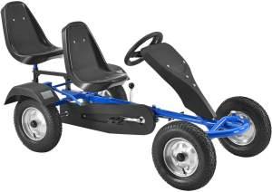 ArtSport 2-Sitzer GoKart – Tretauto für Kinder mit höhenverstellbarem Lenkrad & 2 Schalensitzen – Go-Kart mit Luftreifen & Stahl-Felgen in Blau