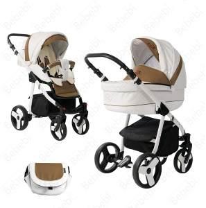Bebebi Fizzy | Luftreifen in Weiß | 2 in 1 Kombi Kinderwagen | Luftreifen | Farbe: Coffee