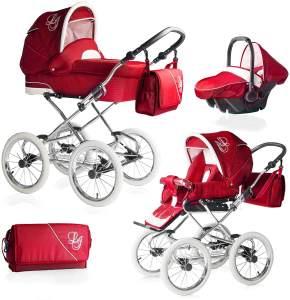 Bebebi Loving | 3 in 1 Kombi Kinderwagen Komplettset | Nostalgie Kinderwagen | Farbe: Red Tender