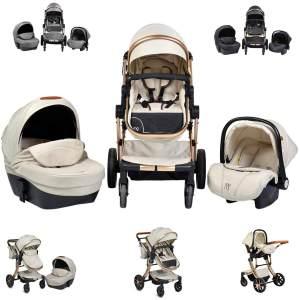 Moni Kinderwagen Polly 3 in 1 Babyschale, Babywanne, Sportsitz beige