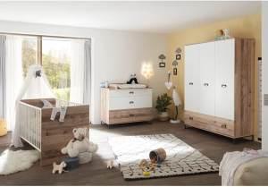 Lomado Babyzimmer Set 3tlg. ROANNE-78 in Eiche Old Style hell / weiß