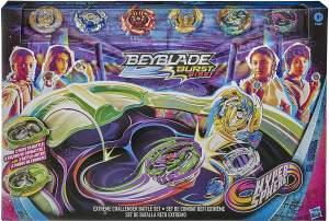 Hasbro E9409EU4 'Beyblade Burst Rise, Hypersphere Extreme Challenger Battle Set' Geschicklichkeitsspiel, exklusives Set mit Beystadium-Arena, 6 Kreiseln und 2 Startern, ab 8 Jahren