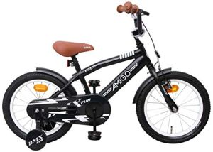 Amigo 'BMX Fun' Kinderfahrrad Matt Schwarz 16 Zoll inkl. Stützräder