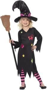 Halloween! Smiffys Kostüm Holzhexe, Schwarz, mit Kleid, Hut und Strumpfhose