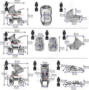 Bebebi Bellami | Luftreifen in Weiß | 3 in 1 Kombi Kinderwagen Komplettset | Farbe: Bellaviola