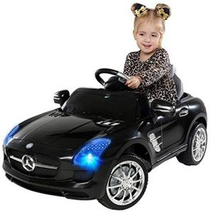Kinder Elektro Auto Mercedes SLS AMG Kinderauto Kinderfahrzeug Elektrofahrzeug (Schwarz)