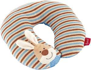 SIGIKID Mädchen und Jungen, Nackenkissen Semmel Bunny mit Stützfunktion, Reisekissen, empfohlen ab 12 Monaten, blau/beige, 40834