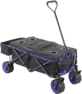 Faltbarer Bollerwagen HWC-E62, Handwagen, Geländereifen klappbar ~ mit Hecktasche/Abdeckung + Kühltasche schwarz/blau