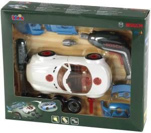 Theo Klein 8630 Bosch Car Tuning-Set I Zerlegbares Auto mit Tuning Zubehör I Mit batteriebetriebenem Akkuschrauber I Verpackungsmaße: 30 cm x 6,5 cm x 25 cm I Spielzeug für Kinder ab 3 Jahren