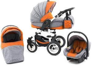 Tabbi ECO LN | 3 in 1 Kombi Kinderwagen | Luftreifen | Farbe: Orange