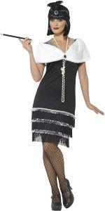 Smiffys Damen Flapper Kostüm, Kleid, Haarband und Fell Stola, Größe: 36-38, 43128