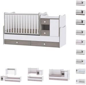 Lorelli '3 in 1 Mini Max' Babybett und Jugendbett für 2 Kinder, weiß