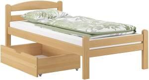 Einzelbett Buche massiv 90x200 Bettgestell und Rollrost. Matratzen und Bettkasten inkl.