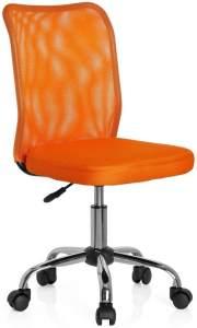 hjh OFFICE 685966 Kinder-Drehstuhl KIDDY NET Stoff/Netz Orange Kinderschreibtischstuhl mitwachsend, ohne Armlehnen