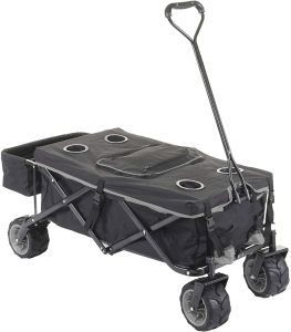 Faltbarer Bollerwagen HWC-E62, Handwagen, Geländereifen klappbar ~ mit Hecktasche/Abdeckung + Kühltasche schwarz/grau