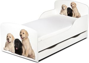 Leomark Kinderbett 70x140 cm, Hunde, mit Matratze, Schublade und Lattenrost