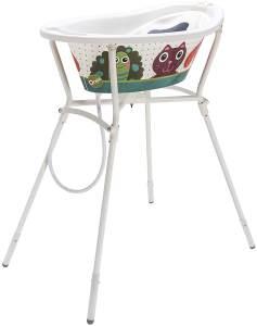 Rotho Babydesign Komplett Badeset Oops StyLe! mit Wanne und Klapp-Ständer, 0-12 Monate, Max 25kg, Weiß, 21061000101