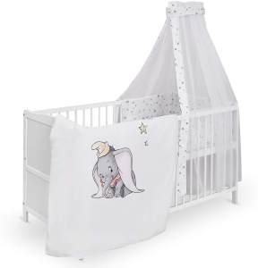 """Urra 'Luca' Komplett-Kinderbett, 60x120 cm, Kiefer, weiß, inkl. Bettwäsche mit Motiv """"Disney Dumbo"""""""