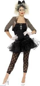 80er Wildes Kind Damenkostüm Schwarz mit Jacke Oberteil Tutu Leggings Handschuhen und Haarband, Large