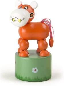 Druckfigur Nilpferd orange 11 cm
