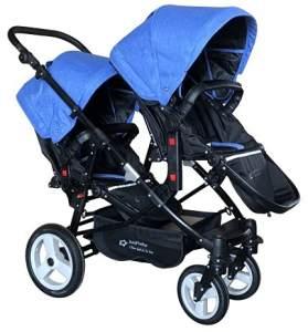 Babyfivestar Geschwisterwagen / Zwillingswagen Blue / Black Schwarzes Gestell