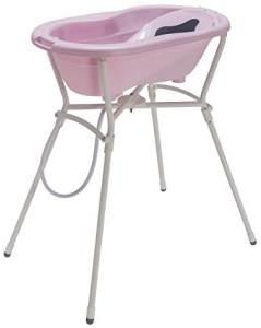 Rotho 'Top' Komplett-Badeset mit Wanne und Klapp-Ständer Tender Rosé Pearl, 0-12 Monate