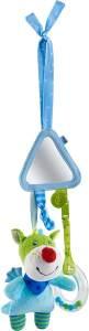 HABA 303876 - Spielfigur Drache Duri |Baby-Spielzeug zum Festbinden mit Kuscheltier, Spiegel und Rassel | Ab 6 Monaten