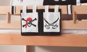 Froschkönig24 Stofftasche Seitentasche Hängetasche für Hochbett Etagenbett Pirat