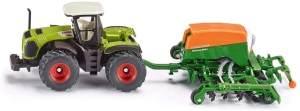 SIKU 1826, Class Xerion Traktor mit Sämaschine Amazone Cayenna 6001, 1:87, Metall/Kunststoff, Grün, Öffenbare Füllklappe an Sämaschine