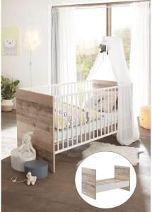 Lomado Baby Gitterbett mit Umbaufunktion zum Juniorbett ROANNE-78 in Eiche Old Style hell / weiß, B/H/T: ca. 76/82/145 cm