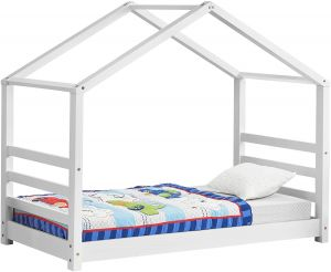 en.casa Hausbett Weiß 70x140 cm, inkl. mit Lattenrost