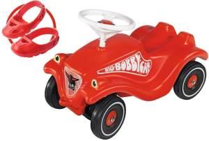 BIG 800056106 'Bobby Car Classic'-Set mit Flüsterrädern und Schuhschutz Shoe-Care, ab 12 Monaten, bis 50 kg belastbar, rot
