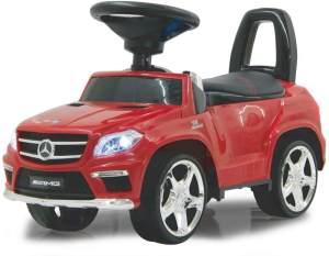 Jamara 460239 - Rutscher Mercedes GL63AMG rot – Kippschutz, Kunstledersitz mit roten Ziernähten, Kofferraum unter der Sitzfläche, Rückenlehne, Scheinwerfer vorne / hinten, Motorsound, Hupe, Musik