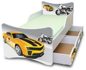 Best For Kids 'Rennfahrzeuge' Kinderbett mit Schaummatratze 90x180 grau