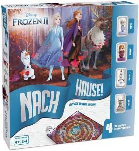 ASS 22501062 Eiskönigin 2-Nach Hause-Das Würfelspiel um den Wettlauf zum Ziel mit ELSA, Anna, Olaf und Sven als detailgetreue 3D Disney Spielfiguren