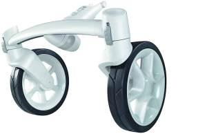 Quinny 77304310 Mood Vorderradachse, austauschbare Vorderrad-Achse mit 2 Reifen, weiß