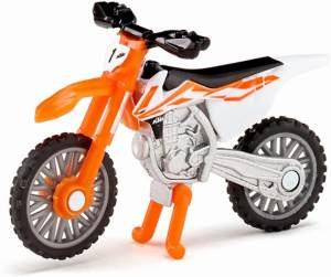SIKU 1391, KTM SX-F 450 Motorrad, Metall/Kunststoff, Orange/Weiß, Einklappbarer Ständer