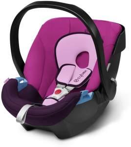 CYBEX Silver Babyschale Aton, Inkl. Neugeboreneneinlage, Ab Geburt bis ca. 18 Monate, Max. 13 kg, Purple Rain