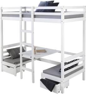 Kinderbett Hochbett 90x200 weiß Schreibtisch Etagenbett + ohne Sitzkissen